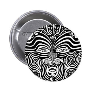Ancient Maori Moko tribal tattoo design. 6 Cm Round Badge