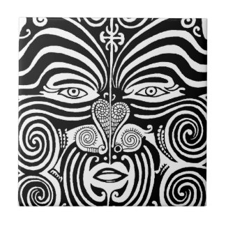 Ancient Maori Moko tribal tattoo design. Small Square Tile
