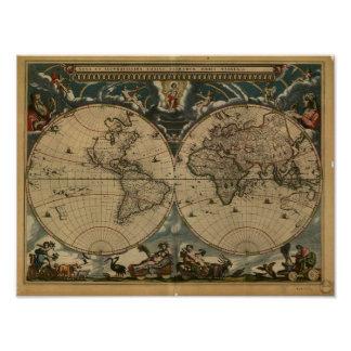 Ancient Map of the World - 1664 Poster