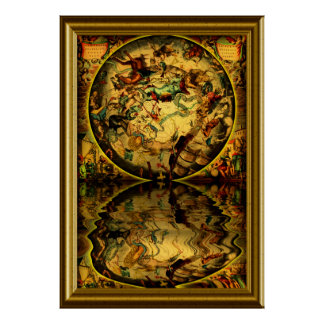 Ancient Maps -1-with-frame Poster