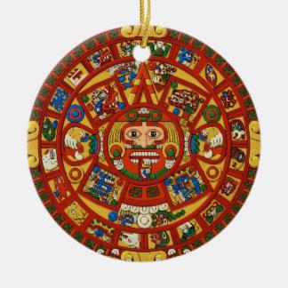 Ancient Mayan Aztec Symbol Ceramic Ornament