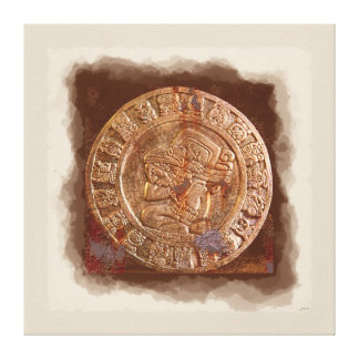 Ancient Mayan Carved Metal Art Disc Wrapped Canvas Gallery Wrapped Canvas