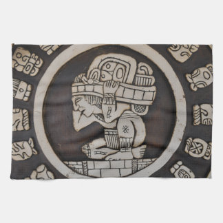 Ancient Mayan Warrior Tea Towel