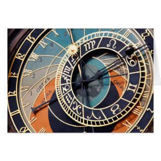 Ancient Medieval Astrological Clock Czech Card