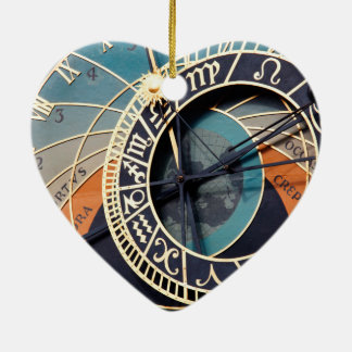 Ancient Medieval Astrological Clock Czech Ceramic Heart Decoration