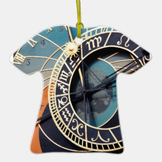 Ancient Medieval Astrological Clock Czech Double-Sided T-Shirt Ceramic Christmas Ornament