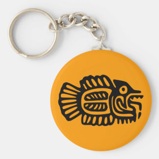 Ancient Mexican Fish Motif Key Chain