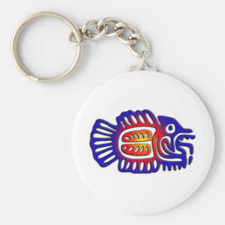 Ancient Mexico Design Fish Keychain