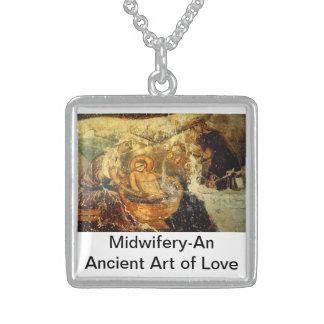 Ancient Midwife Square Pendant Necklace
