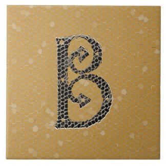 Ancient Monogram Letter B Ceramics Large Square Tile