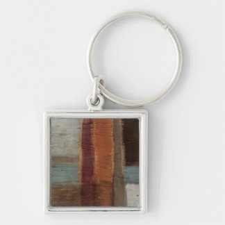 Ancient Musings II Silver-Colored Square Key Ring