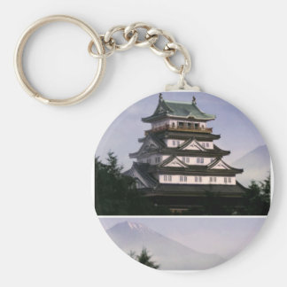 ANCIENT ORIENTAL TEMPLES BASIC ROUND BUTTON KEY RING