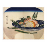 Ancient Painting of a Bowl of Sushi circa 1800's Post Card