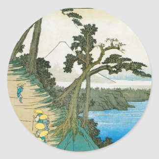 Ancient Painting of Mt. Fuji c. 1837 Japan Round Sticker