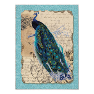 Ancient Peacock Bridal Shower Invite - Aqua Blue