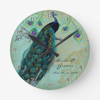 Ancient Peacock & Etchings Personalized Wedding Wall Clock
