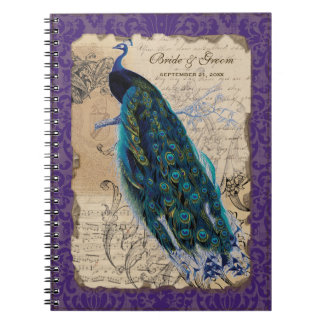 Ancient Peacock Formal Wedding Planner Journal Spiral Note Books