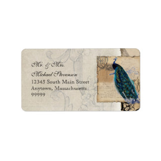 Ancient Peacock Matching Address Label - Aqua Blue