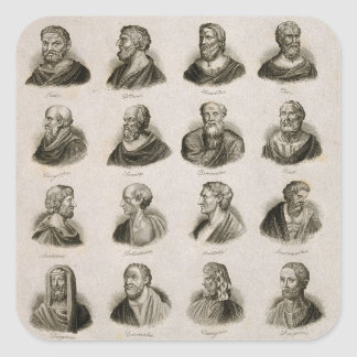 Ancient Philosophers Portrait Thinkers Vintage Square Sticker