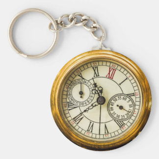 Ancient Pocket Watch Basic Round Button Key Ring