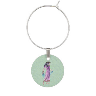Ancient Pretty Egyptian Lady Princess in Purple Wine Charm