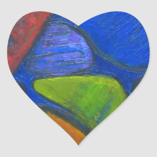 Ancient Protista Family (abstract expressionism) Heart Sticker