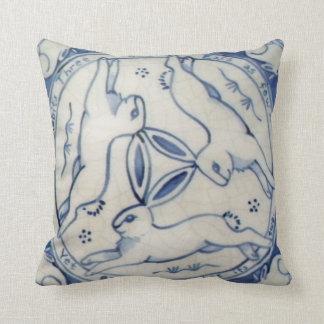 Ancient Rabbit Trio, Blue & White Tile Pillow