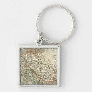 Ancient Roman Empire Silver-Colored Square Key Ring