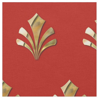 Ancient Roman Gold Pattern With Red Background Fabric