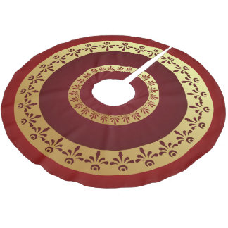 Ancient Roman Golden Floral Motifs On Red Brushed Polyester Tree Skirt