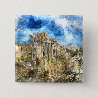 Ancient Roman Ruins in Rome Italy 15 Cm Square Badge