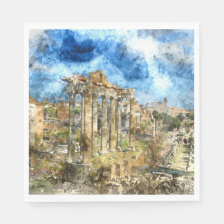 Ancient Roman Ruins in Rome Italy Disposable Napkins