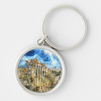 Ancient Roman Ruins in Rome Italy Key Ring