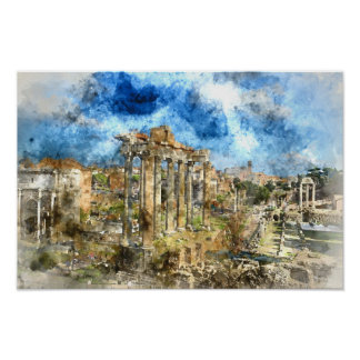Ancient Roman Ruins in Rome Italy Poster