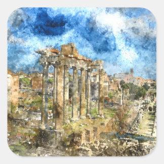 Ancient Roman Ruins in Rome Italy Square Sticker