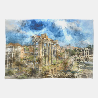 Ancient Roman Ruins in Rome Italy Tea Towel