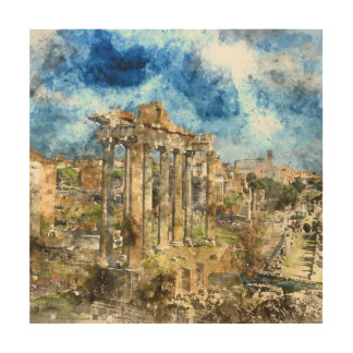 Ancient Roman Ruins in Rome Italy Wood Wall Decor