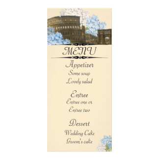 Ancient Rome Blue Hydrangea Menu Card Full Colour Rack Card
