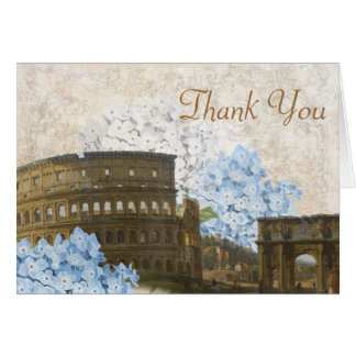 Ancient Rome Blue Hydrangea Thank You Card