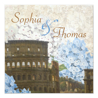Ancient Rome Blue Hydrangea Wedding Invitation
