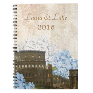Ancient Rome Blue Hydrangea Wedding Notebook