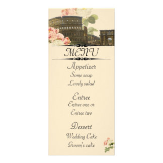 Ancient Rome Pink Roses Menu Card Rack Card Template