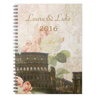 Ancient Rome Pink Roses Wedding Notebook