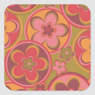 Ancient Rome Style Flowers Square Sticker