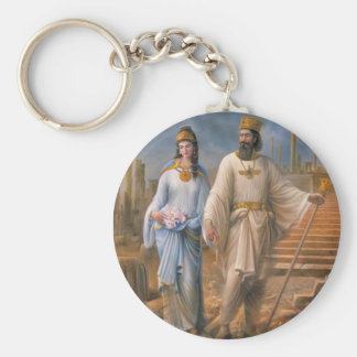 Ancient Royalty Basic Round Button Key Ring