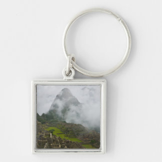 Ancient ruins of Machu Picchu with Andes Silver-Colored Square Key Ring