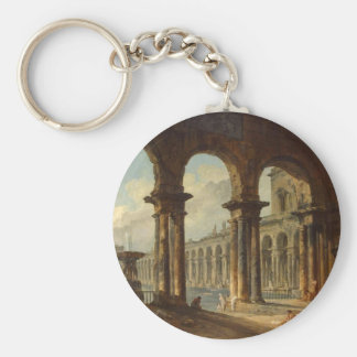 Ancient Ruins Used as Public Baths Hubert Robert Basic Round Button Key Ring