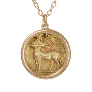ANCIENT SAGITTARIUS CHARM GOLD PLATED NECKLACE