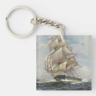 Ancient Sailing Ship Double-Sided Square Acrylic Key Ring
