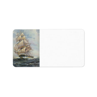 Ancient Sailing Ship Label